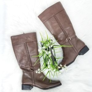 Croft & Barrow Brown Braided Leather Tall Boots